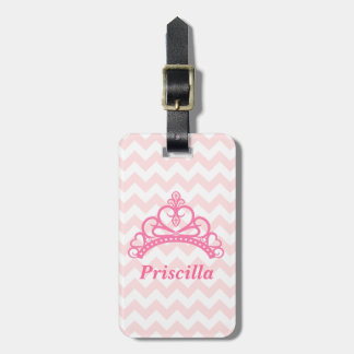 Princess Tiara, Pink and White Chevron, for Girls Luggage Tag