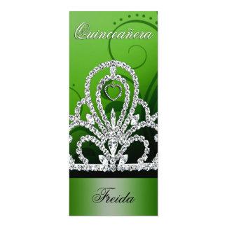 "Princess Tiara Quinceanera (green) 4"" X 9.25"" Invitation Card"