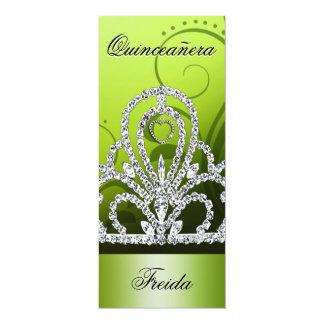 "Princess Tiara Quinceanera (lime) 4"" X 9.25"" Invitation Card"