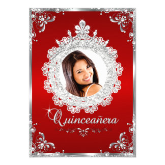 "Princess Tiara Red Silver Sparkle Quinceanera 5"" X 7"" Invitation Card"