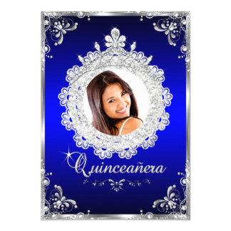 "Princess Tiara Royal Blue Sparkle Quinceanera 5"" X 7"" Invitation Card"
