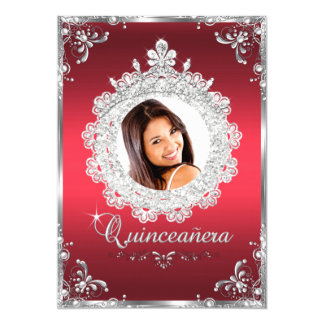 "Princess Tiara Ruby Red Sparkle Quinceanera 5"" X 7"" Invitation Card"