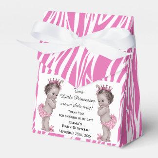 Princess Twins Baby Shower Pink Zebra Pattern Favor Box