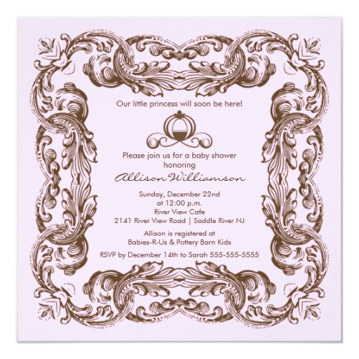 Princess Vintage Frame Baby Shower Invitation