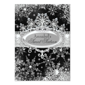 Princess Winter Wonderland Black Sweet 16 Invite