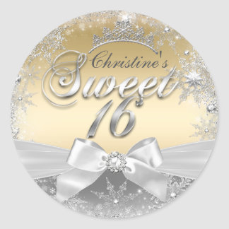 Princess Winter Wonderland Gold Sweet 16 Sticker