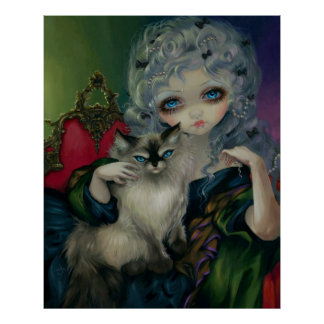 Princess with a Ragdoll Cat ART PRINT rococo