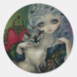 """Princess with a Ragdoll Cat"" Sticker"