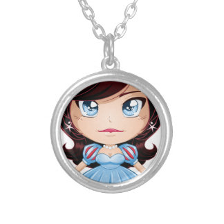 Princess With Black Hair In Blue Dress Round Pendant Necklace