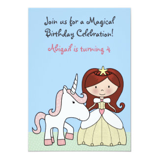 Princess with Red Hair and Cute Unicorn Birthday Card