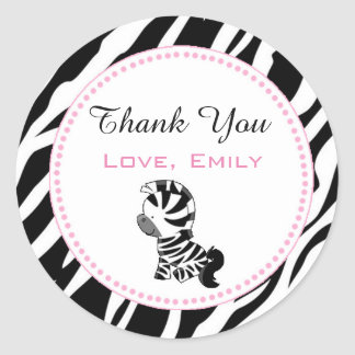 Princess Zebra Gift Favour Label Sticker Pink
