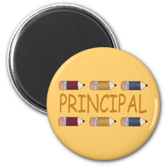 Principal Gift With Pencil Border 6 Cm Round Magnet