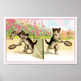 Print Badminton Kittens Vintage Art