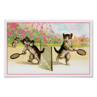 Print: Badminton Kittens Vintage Art
