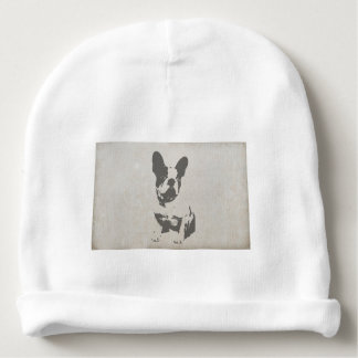 print French bulldog in vintage texture Baby Beanie