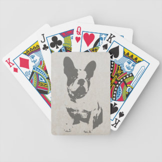 print French bulldog in vintage texture Bicycle Playing Cards