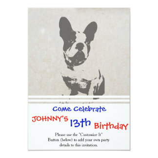 print French bulldog in vintage texture Card