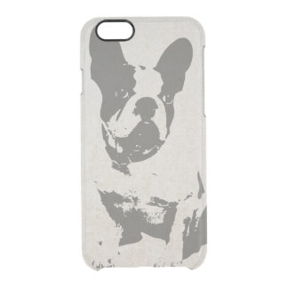 print French bulldog in vintage texture Clear iPhone 6/6S Case