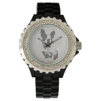 print French bulldog in vintage texture Wrist Watch