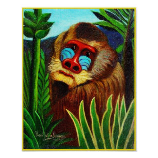 Print: Mandrill in the Jungle by Henri Rousseau Poster