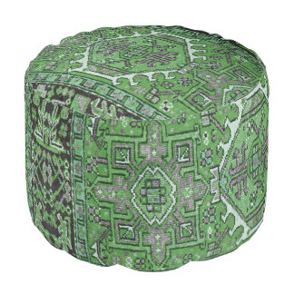 Print of Antique Oriental Carpet in Olive Green Pouf