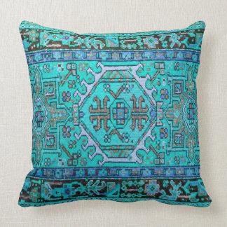 Print of Antique Oriental Carpet in Stunning Blues Throw Pillow
