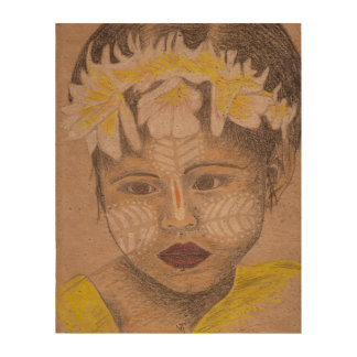 """Print of """"Crowned with flowers"""" in cork paper"""