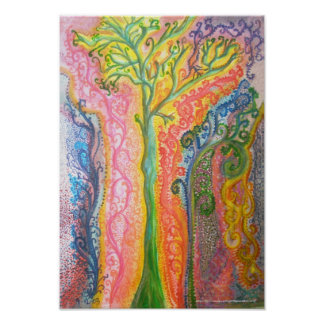 Print or Poster with Psychedelic Tree Design