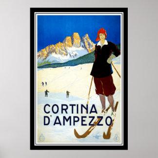 Print Retro Vintage Image Travel Cortina d`Ampezzo
