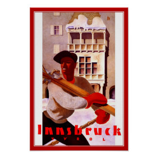 Print Retro Vintage Image Travel Innsbruck Ski
