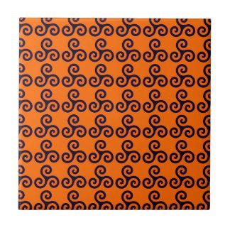 Print Spiral Orange Orange Swirl Pattern Small Square Tile