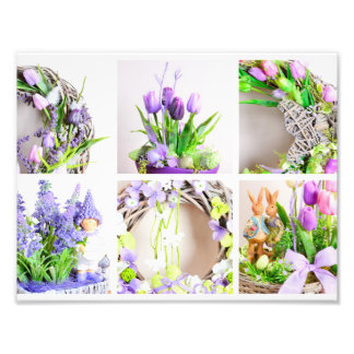 Print with spring decoration collage photo print