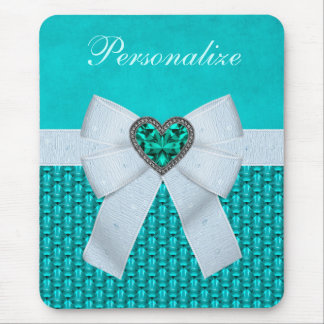 Printed Aquamarine Heart Faux Jewel & Bow Mouse Pad