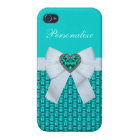 Printed Aquamarine Heart Jewel & Bow Case For The iPhone 4