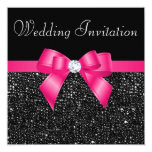 Printed Black Sequins and Hot Pink Bow Wedding 13 Cm X 13 Cm Square Invitation Card