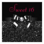 Printed Black Sequins, Bow & Diamond Pink Sweet 16