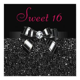 Printed Black Sequins, Bow & Diamond Pink Sweet 16 13 Cm X 13 Cm Square Invitation Card