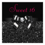 Printed Black Sequins, Bow & Diamond Pink Sweet 16 Announcement