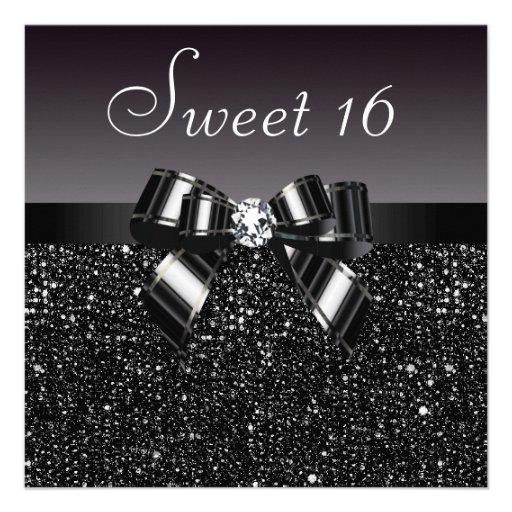 Printed Black Sequins, Bow & Diamond Sweet 16 Invitations