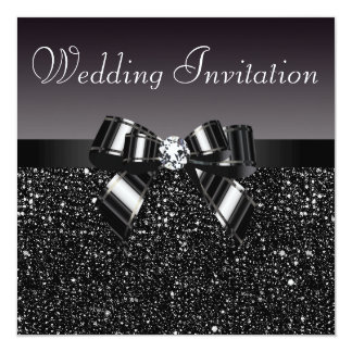 Printed Black Sequins, Bow & Diamond Wedding 13 Cm X 13 Cm Square Invitation Card