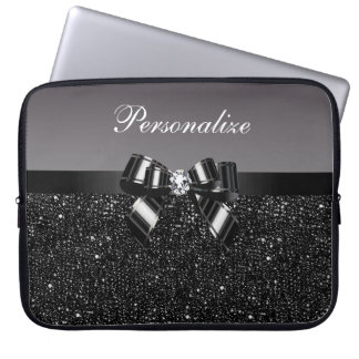 Printed Black & White Sequins, Bow & Diamond Laptop Computer Sleeves