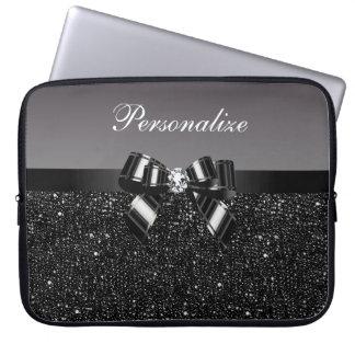Printed Black & White Sequins, Bow & Diamond Laptop Computer Sleeves