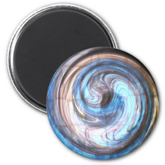Printed Blue Paua Abstract Art 6 Cm Round Magnet