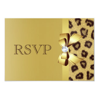Printed Bow, Diamond & Leopard Print RSVP 9 Cm X 13 Cm Invitation Card