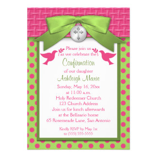 PRINTED BOW First Holy Confirmation Invitation