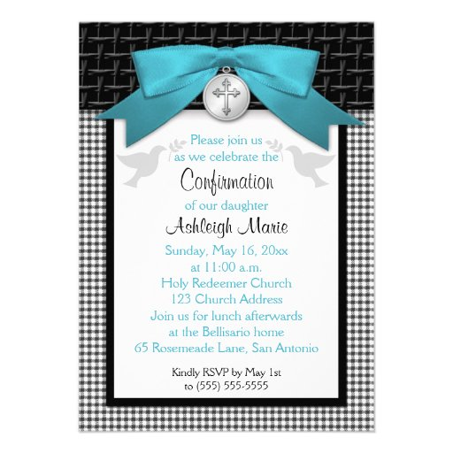 PRINTED BOW Teal First Holy Confirmation Invite