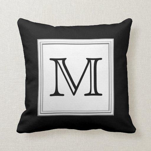 Printed Custom Monogram. Black and Pale Gray. Throw Pillows