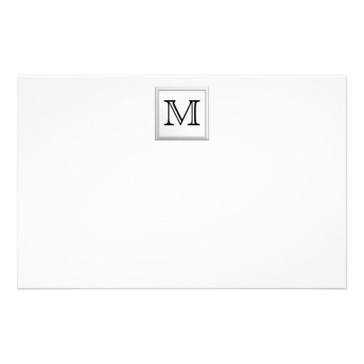 Printed Custom Monogram. Black and White. Customized Stationery