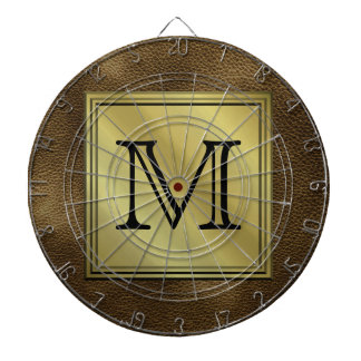 Printed Custom Monogram Image. Brown. Dartboard
