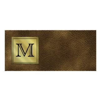 Printed Custom Monogram Image. Brown. Full Color Rack Card